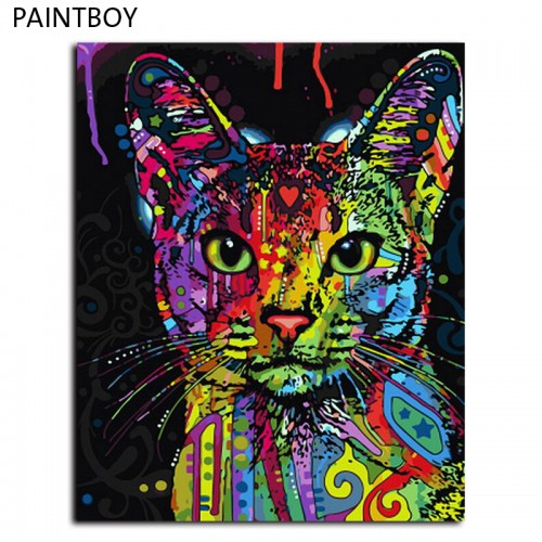 Frameless Picture Painting By Numbers Abstract Animal Cat DIY Oil Painting On Canvas Home40x50cm