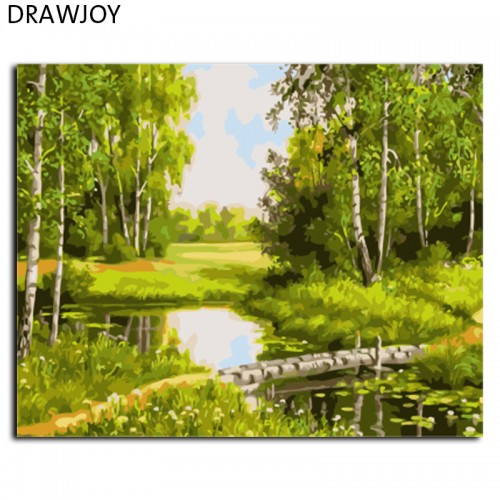 Landscape Framed Pictures Painting By Numbers DIY Canvas Oil Painting 40x50cm