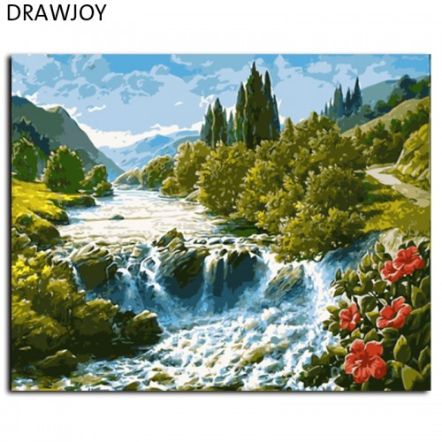 Landscape Framed Pictures Painting By Numbers Wall Art Canvas Oil Painting40x50cm