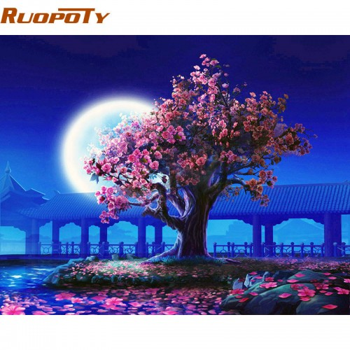 Moon Night Landscape DIY Painting By Numbers Kits 40x50cm