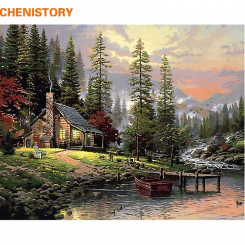 Painting By Numbers Home Decor Hand Painted Landscape Canvas Painting 40x50cm