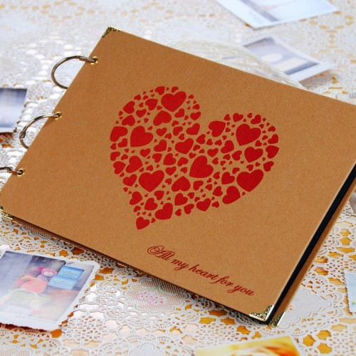 10 inch Heart Paper DIY Photo Album 5 Design Family Memory Record Scrapbooking Album Sticky Type