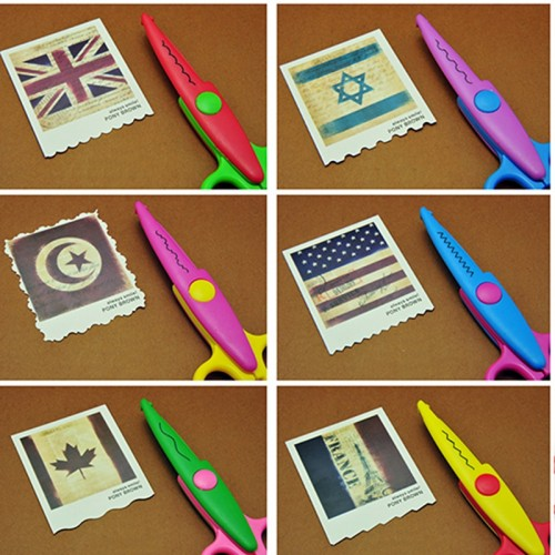 6pc lot Children Kids Paper Craft Scissors 6 Cutting Patterns Curved Edges DIY Decorative Scissor For