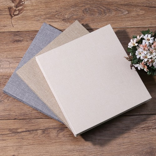 New Linen Self Adhesive Film DIY Cheap Photo Album Wedding Album Retro Family Large Capacity Photo