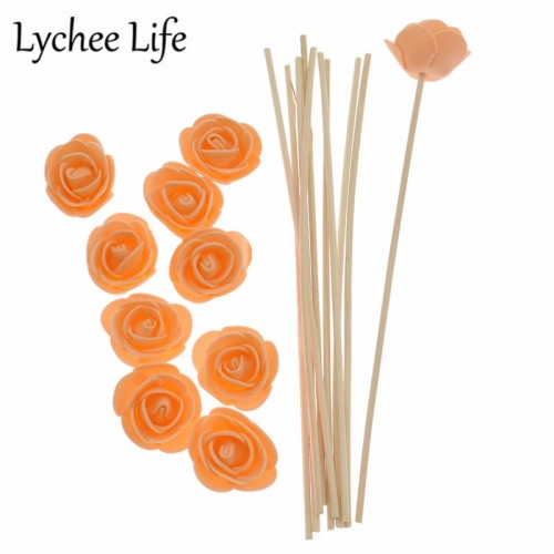 Lychee Life 10pcs Rattan Artificial Flower Fragrance Diffuser Replacement Refill Stick Colorful Fake Floral Home Decor