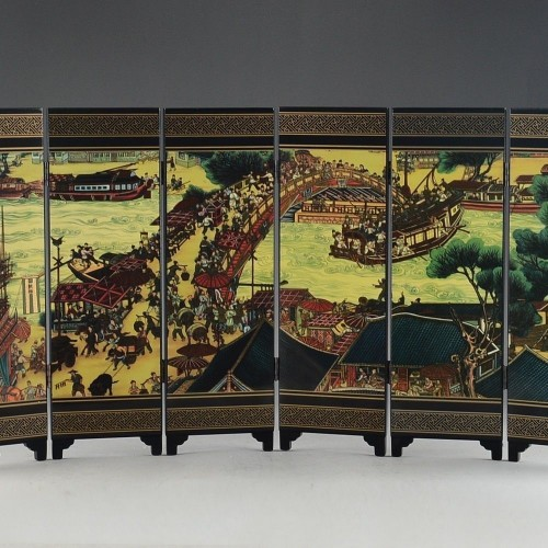 CHINESE LACQUER WARE HAND PAINTING QINGMING FESTIVAL HOME folding screen DECOR