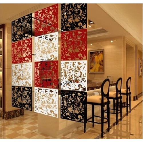 Hanging folding screen set 8 pieces Fashion partitions Entranceway door TV cutout grilles