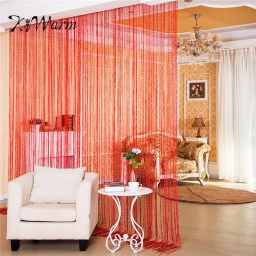 KiWarm Colorful Fashion String Door Curtain Beads Room Divider Window Panel Curtain Hanging Screen Crystal Fringe