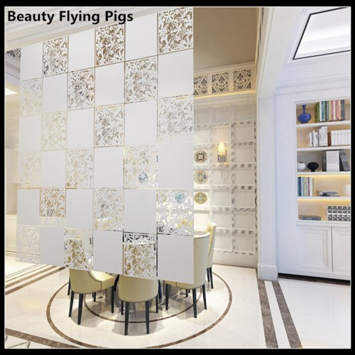 Room divider Screen Biombo Room Partition Home Decoration Partitions 4pcs lot PVC Wall stickers Cutout Home