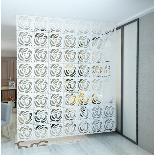 Screen 6pcs simple wooden mobile hanging screen foldable double sided carved hollow partition curtain living room