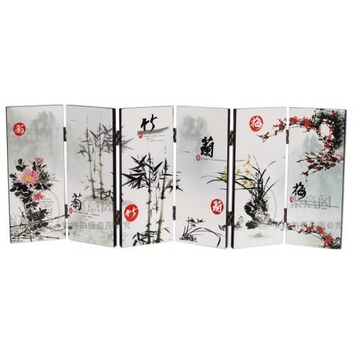TNUKK Desk decorative chinese Lacquer ware painting Mei orchid bamboo chrysanthemum folding screen
