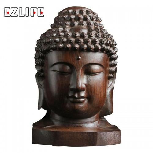 6cm Buddha Statue Wood Wooden Sakyamuni Tathagata Figurine Mahogany India Buddha Head Statue Crafts Decorative Drop