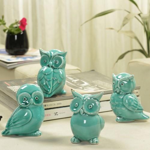 Ceramic handicrafts modern owls statue living room animal ornaments owl crafts toy home decor figure 4