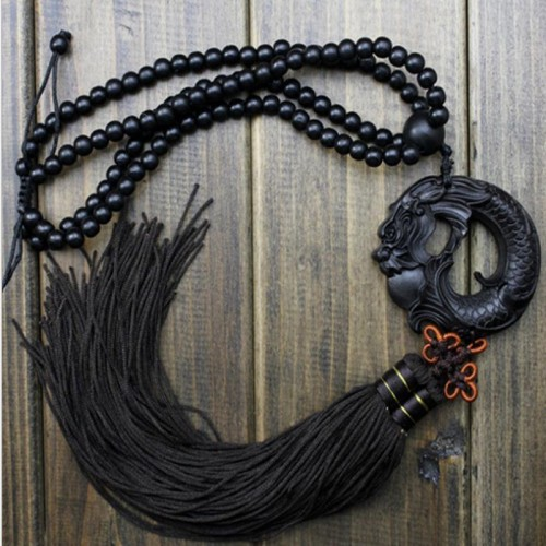 China Black Dragon Statue Beast Wood Carving Crafts Amulets Car Hanging Decoration Buddha sculpture Wooden Craft