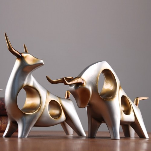 Creative cattle statue ox home decor living room Sculpture gradevin TV cabinet ornament crafts Abstract