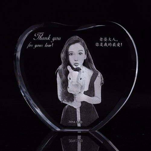 Custom Heart Crystal Sculpture Photo Frame With Your Image Engraved Photo Album Family Wedding Pets