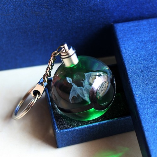 Game Charizard Ball 3D Laser Keychain Crystal Keyring LED Pokemon Ball Figures Monster