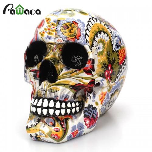 Horror Skull Decoration Resin Human Skeleton Skull Color Flower Painting Halloween Home Table Desktop Decoration