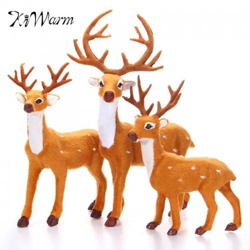 KiWarm 1 PC Reindeer Christmas Deer Elk Plush Simulation Christmas Decor For Home New Year Christmas