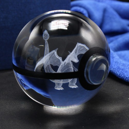 NEW 80MM Pokeball Crystal Pokemon Go Ball With Laser Engraving Charizard