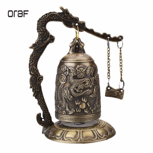 ORAF Home Decoration China Buddhism Brass Copper Carved Statue Lotus Buddha Dragon Bell Clock Bronze Buddhist