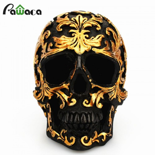Resin Craft Black Skull Head Golden Carving Halloween Party Decoration Skull Sculpture Ornaments Home Decoration Accessories