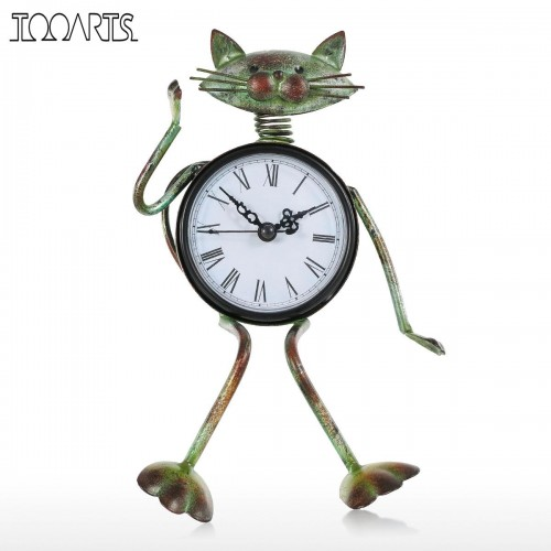 Tooarts Cat vintage Clock Handmade Vintage Metal Iron Cat Figurine Mute Table Clock Practical alarm Clock