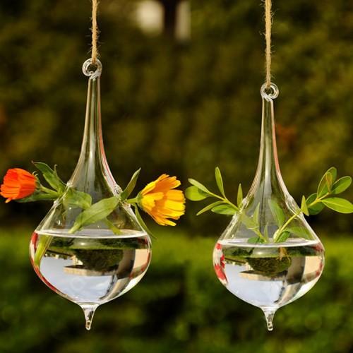 SOLEDI Clear Water Drop Glass Hanging Vase Bottle Terrarium Container Plant Flower DIY Wedding Garden Decor.