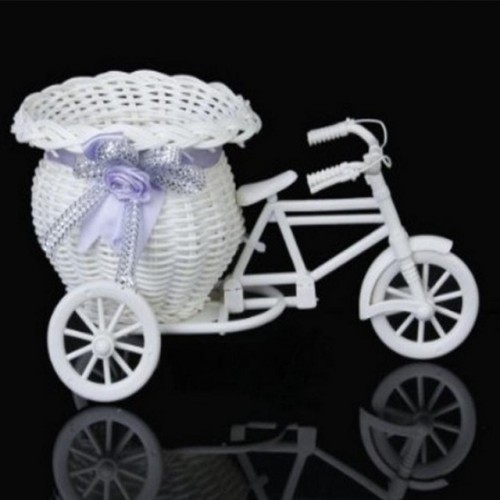 SOLEDI Hot Sales Rattan Tricycle Bike Shape Flowers Basket Plant Vase Container Home Garden Party Office.