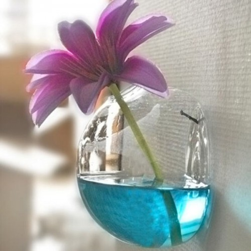 SOLEDI New Creative Semicircular Wall Hanging Glass Vase Hydroponic Container Fish Tank Home Wedding Decoration.