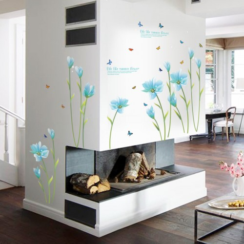 3D Blue Lily Flower Sticker Mural dly Living Room Bedroom Sofa Background Wall art Home Decoration