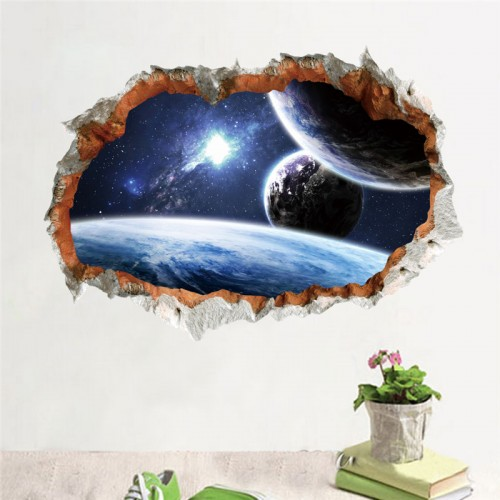 Outer Space Planet Wall Sticker 3D Effect Through Wall Home Decor Galaxy Mural Decals Living Room