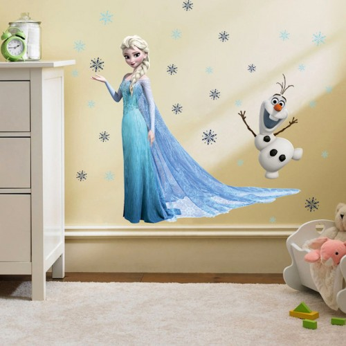 PVC Cartoon Snow Queen Anna Elsa Wall Stickers Girls Home Decoration Wall Decals for Kids Room