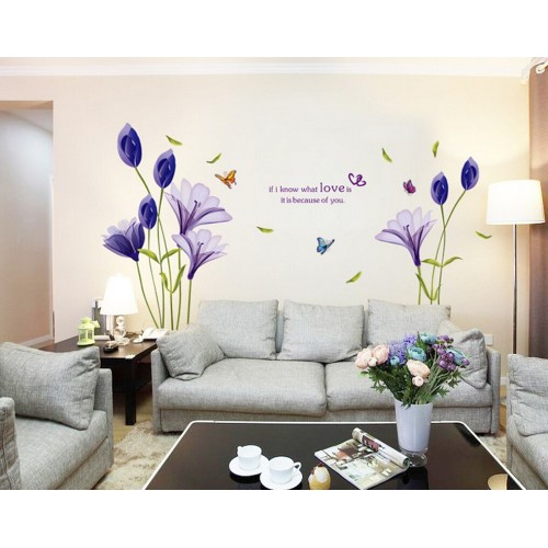 Purple Tulips Flowers Wall Stickers For Living Room