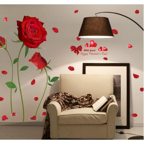 Removable Red Rose Life Is The Flower Quote Wall Sticker Mural Decal Home Room