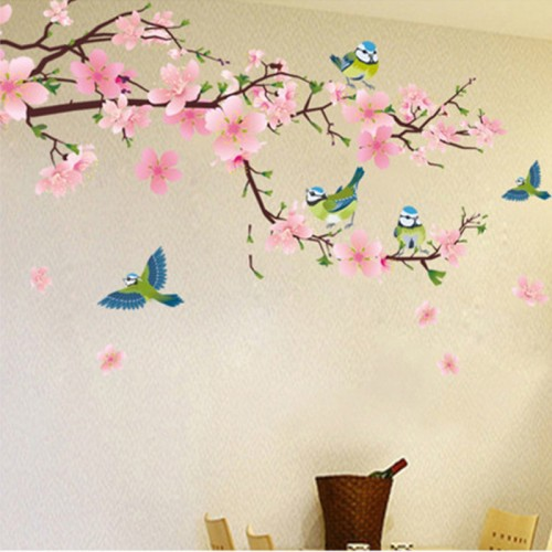 Romantic Peach Blossom and Swallow PVC Removable Room Decal Art DIY Wall Sticker Home Decor hot