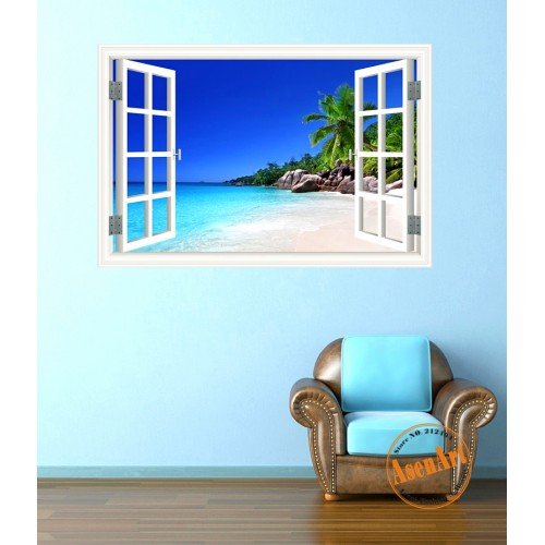 Summer Beach Coconut Tree 3D Wall Sticker