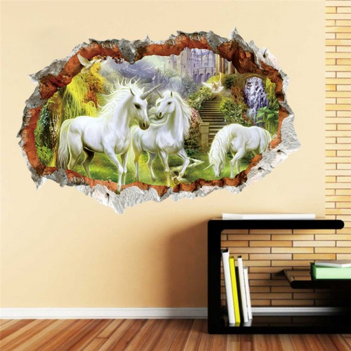 Unicorn Wall Sticker Full Color Girls Boys Fairy Tale Bedroom 3D Broken Windoe Decorations Removable Mural