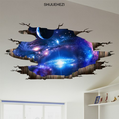 Universe Galaxy 3D Ceiling Stickers Vinyl Wall Toilet Decoration