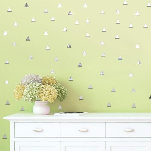100 Pcs/set 2*2CM Acrylic Mirrored Triangle Shaped Decorative Sticker Wall Art Decoration