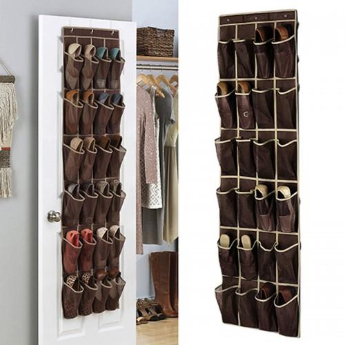 24 Grid Home Over Door Hanging Organizer Convenient Storage Holder Rack Closet Shoes Keeping