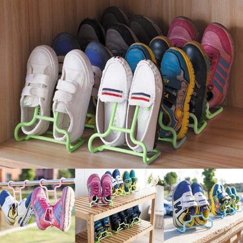2PCS Set Multi function Plastic Children Kids Shoes Hanging Storage Shelf Drying Rack Shoe Rack Stand