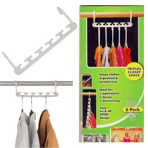 8 Pcs Space Saving Magic Trousers Clothing Hanger Coat Pants Clothes Closet Organizer Hooks Hanger Rack
