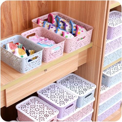 AsyPets Creative Plastic Desktop Hollow Storage Basket Underwear Storage Box Kitchen Organizer Clothes Toys Storage Container