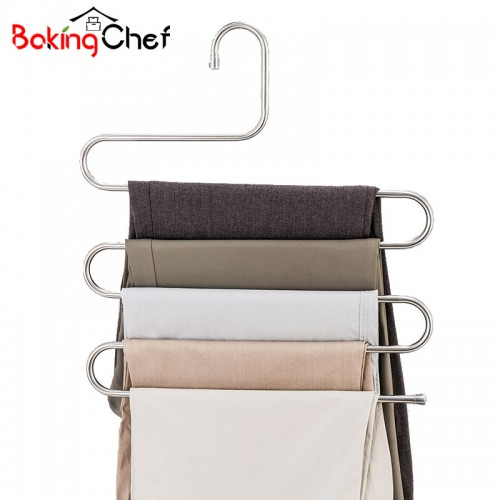 BAKINGCHEF Multi function 5 Layers Pants Hanger Rack Trousers Clothing Home Storage Organizer Accessories Supplies Gear