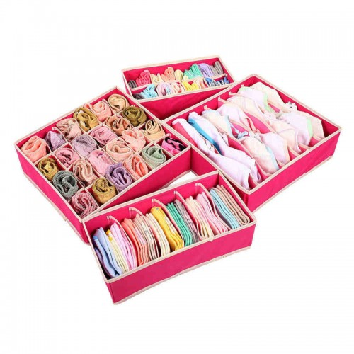 Collapsible Non Woven Storage Boxes Sets Underwear Organizador Ties Socks Shorts Bra Draw Divider Container