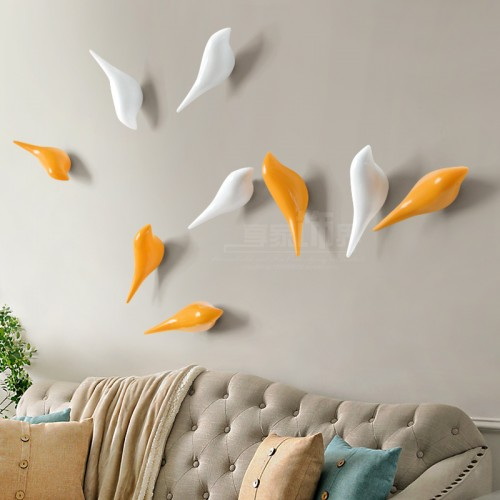 Creative wall hooks bird decoration Resin wood grain hooks bedroom door after the animals Hooks 3D
