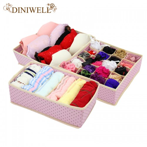 DINIWELL 3PCS Foldable NonWoven Home Underwear Storage Box For Bra Tie Socks Container Organizers Closet Draw