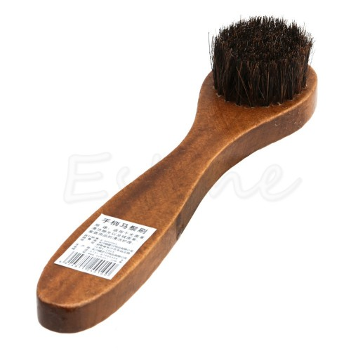 Long Wood Handle Bristle Horse Hair Brush Shoe Boot Polish Shine Cleaning Dauber