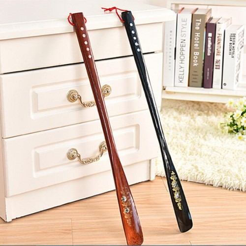 New High Quality 55cm Mahogany craft Wooden Shoe Horn Professional Wooden Long Handle Shoe Horn Lifter